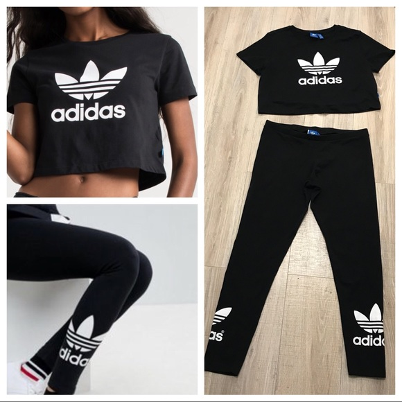 adidas pants  trefoil crop top matching leggings outfit